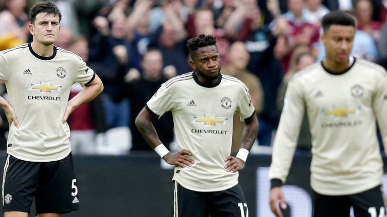Harry Maguire, Fred and Jesse Lingard (left to right) react to their defeat at West Ham