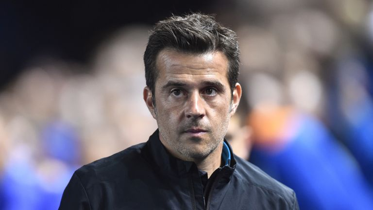 Marco Silva looks on as Everton play in the Carabao Cup.