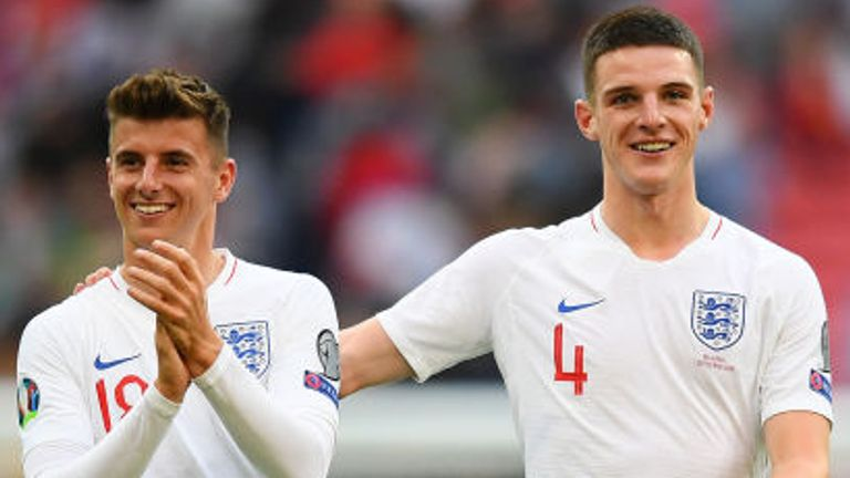 Declan Rice (right) was again a key man for England on Saturday