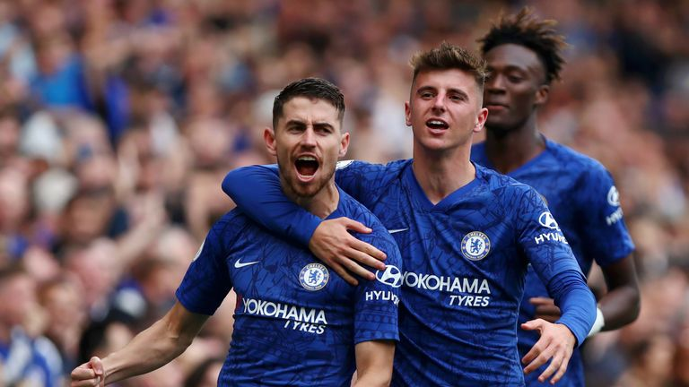 Mason Mount (centre) has impressed since his inclusion at Chelsea under Frank Lampard