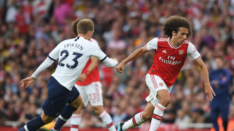 Matteo Guendouzi up against Christian Eriksen in the North London derby between Arsenal and Tottenham in September 2019
