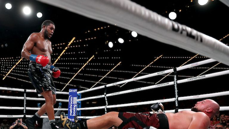 September 13, 2019; New York, NY, USA; Michael Hunter and Sergey Kuzmin during their bout at the Hulu Theater at Madison Square Garden. Mandatory Credit: Ed Mulholland/Matchroom Boxing USA