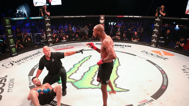 Michael Page knocked out Richard Kiely with a flying knee in round one