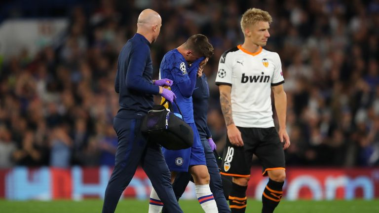 Mason Mount looked dejected as he was forced off against Valencia