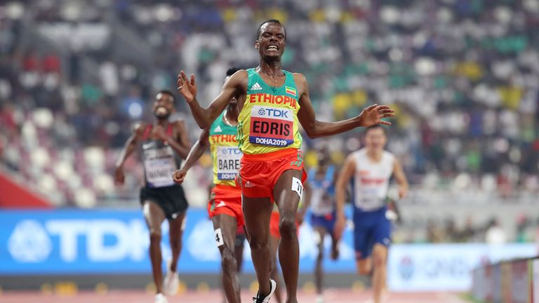 Edris was roared on by a noisy contingent of flag-waving Ethiopian fans in the crowd