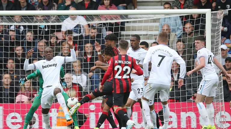 Nathan Ake was denied a goal with Dominic Solanke standing in an offside position