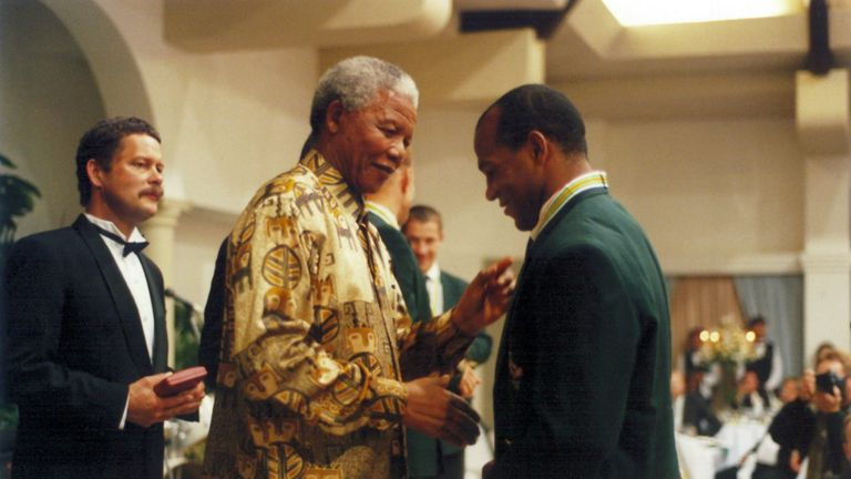 Williams was greeted warmly by Nelson Mandela after South Africa's historic triumph