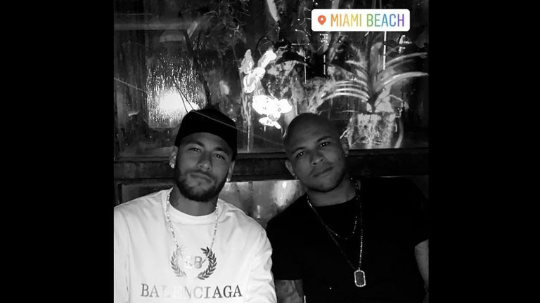 Neymar checked into Miami Beach on his Instagram story as he gears up for the international break with Brazil (Credit: neymarjr)