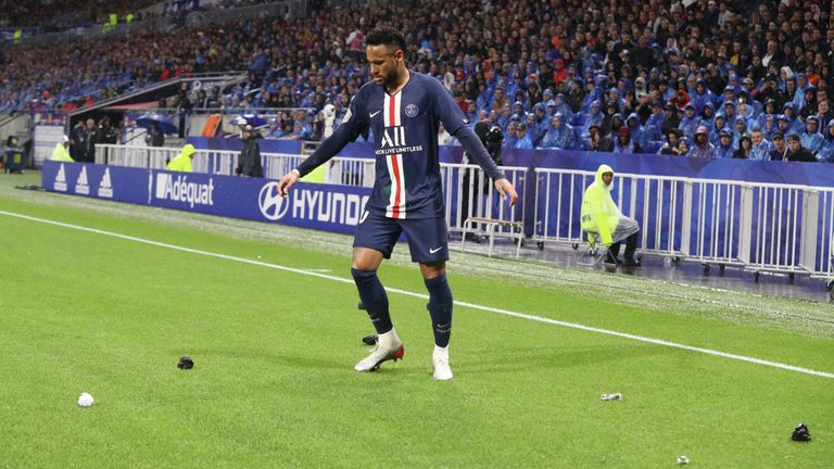 Neymar had objects thrown at him by Lyon fans last Sunday