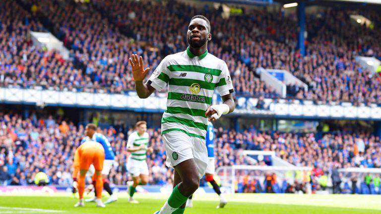 Celtic's Odsonne Edouard celebrates his opener against Rangers