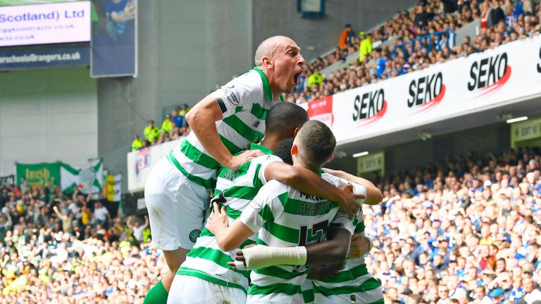 Celtic's Odsonne Edouard celebrates his goal against Rangers with his team-mates