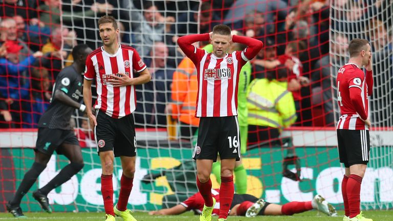 Sheffield United's Ollie Norwood and Chris Basham look dejected after they concede to Liverpool