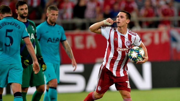 Daniel Podence celebrates for Olympiakos vs Tottenham