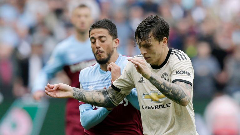 Pablo Fornals and Victor Lindelof in action during the Premier League match at the London Stadium