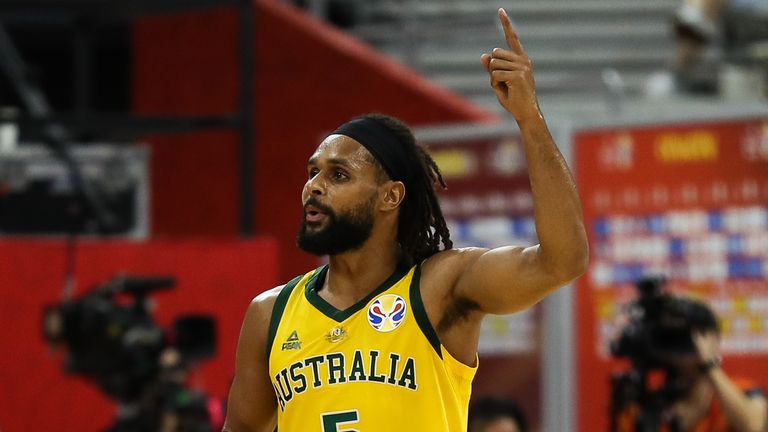 Patty Mills of Australia reacts during the quarter final match between Australia and Czech Republic
