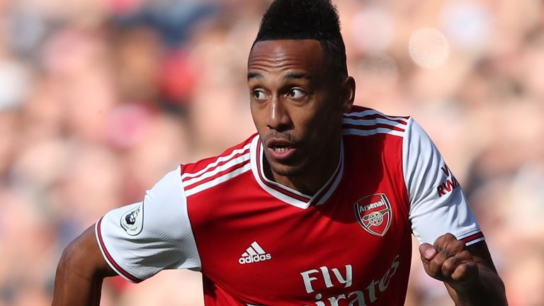 Pierre-Emerick Aubameyang in action during the north London derby at the Emirates Stadium