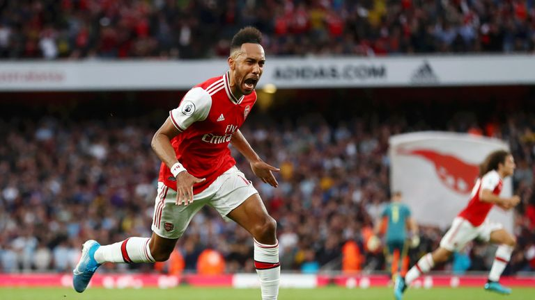 Pierre-Emerick Aubameyang celebrates after putting Arsenal ahead for the first time in the game