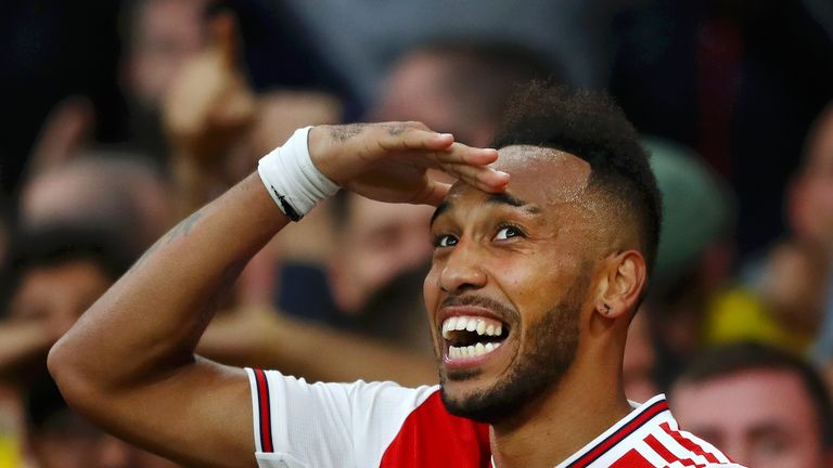 Pierre-Emerick Aubameyang celebrates after scoring for Arsenal