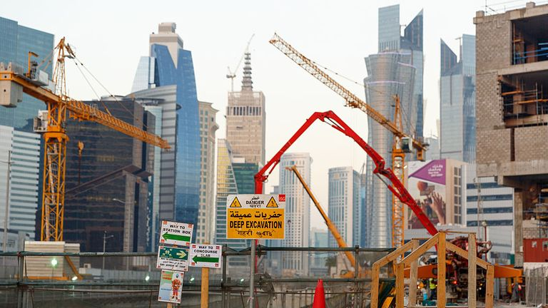 Construction works underway in Qatar's capital of Doha, ahead of the World Cup in 2022
