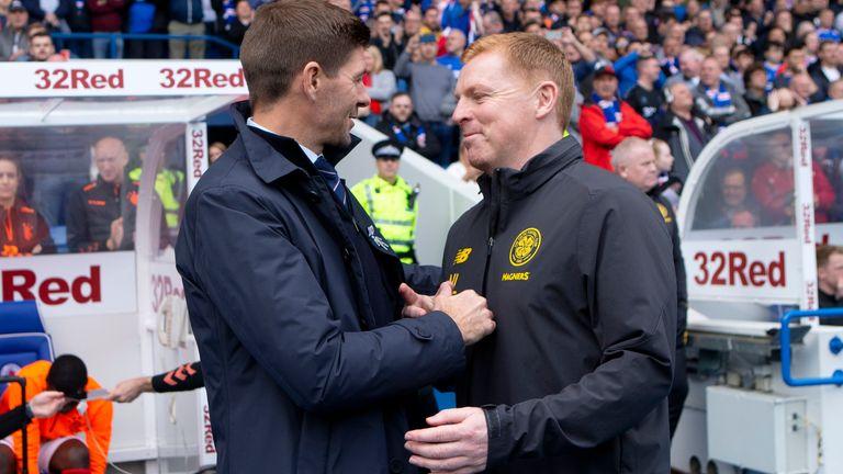 Rangers manager Steven Gerrard shakes hands with Celtic boss Neil Lennon
