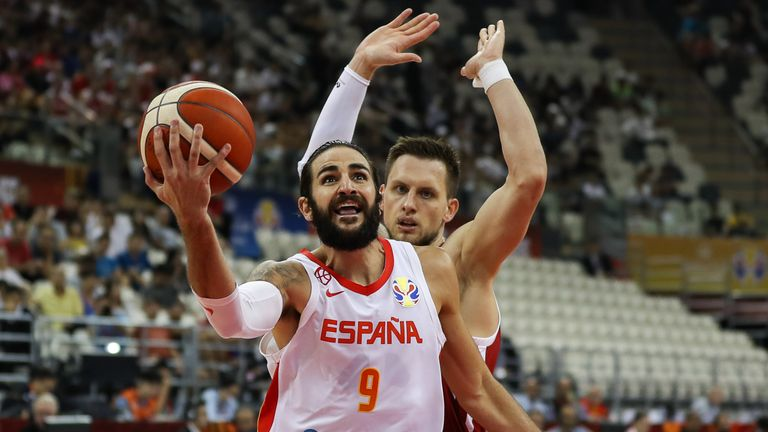 Ricky Rubio of Spain drives against Adam Waczynski of Poland during the quarter final match between Spain and Poland of 2019 FIBA World Cup
