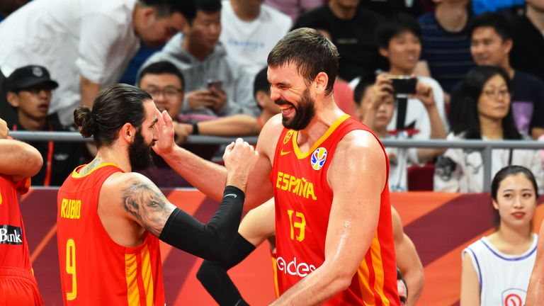 Ricky Rubio and Marc Gasol celebrate after the game against Team Argentina during the 2019 FIBA World Cup Finals