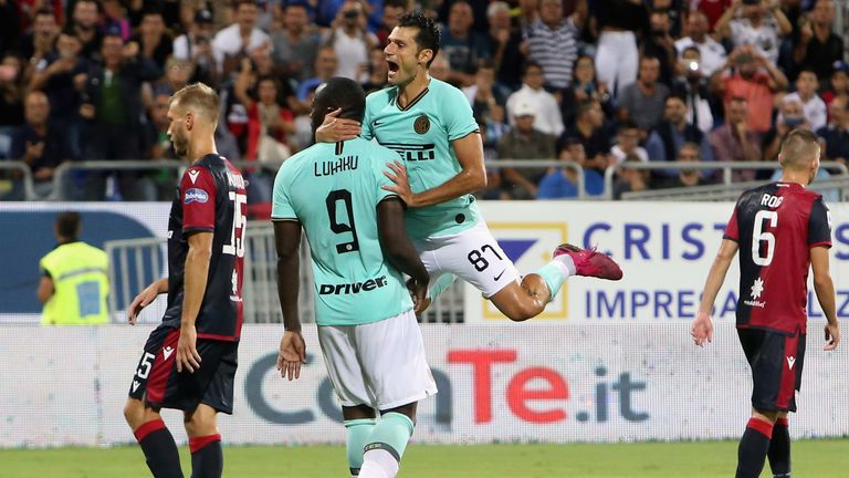 Romelu Lukaku scored the winning penalty in Inter's 2-1 victory at Cagliari