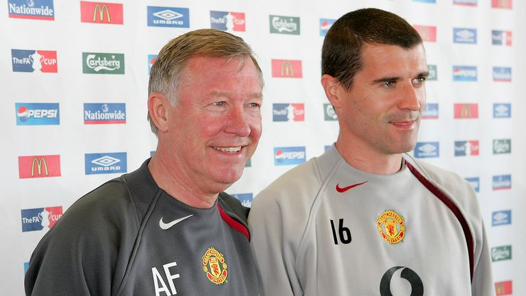 Sir Alex Ferguson and Roy Keane of Manchester United pose before a press conference ahead of the FA Cup Final at Carrington Training Ground on May 18, 2005 in Manchester, England