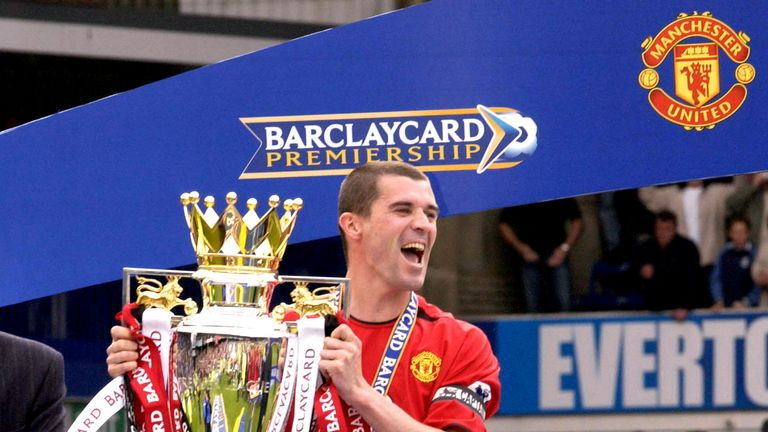 Captain Roy Keane receives the Barclaycard Premiership trophy               ..Everton v Manchester United, Goodison Park, Liverpool 11/05/2003, Barclaycard Premiership