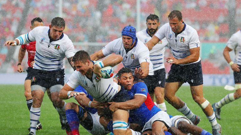 Italy crossing for a try in their first Rugby World Cup Pool match