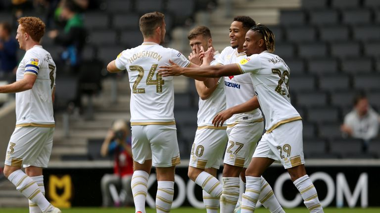 Sam Nombe celebrates his goal with MK Dons team-mates against AFC Wimbledon