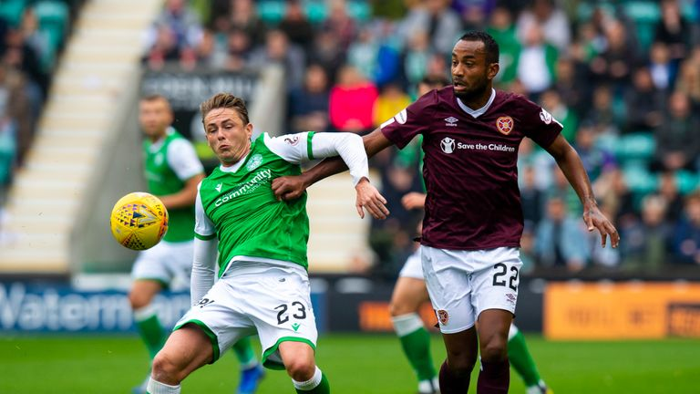 Scott Allan and Loic Damour in action during the Premiership match between Hibs and Hearts