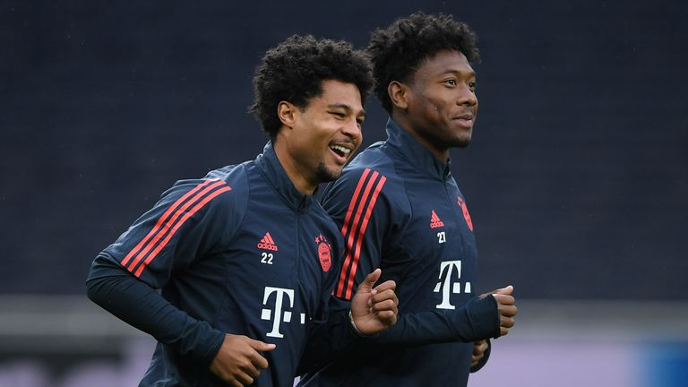 Serge Gnabry pictured in training alongside David Alaba ahead of Bayern Munich's Champions League match against Tottenham