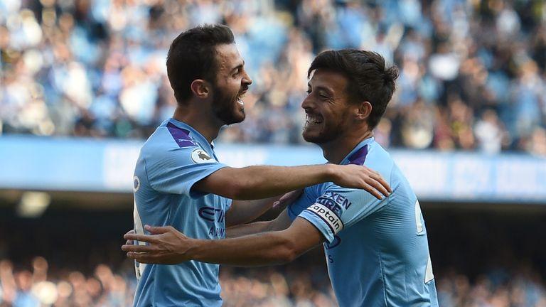Bernardo Silva celebrates with David Silva