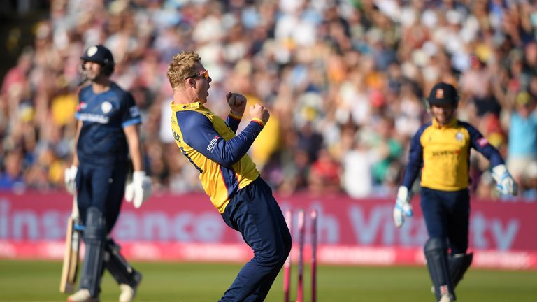 BIRMINGHAM, ENGLAND - SEPTEMBER 21: Simon Harmer of Essex celebrates the wicket of Billy Godleman of Derbyshire Falcons during the Vitality T20 Blast Semi Final match between Derbyshire Falcons and Essex Eagles at Edgbaston on September 21, 2019 in Birmingham