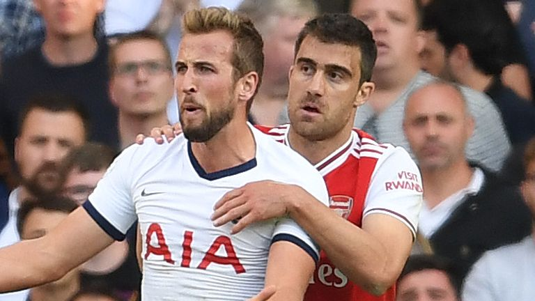 Kane went down under a challenge from Sokratis