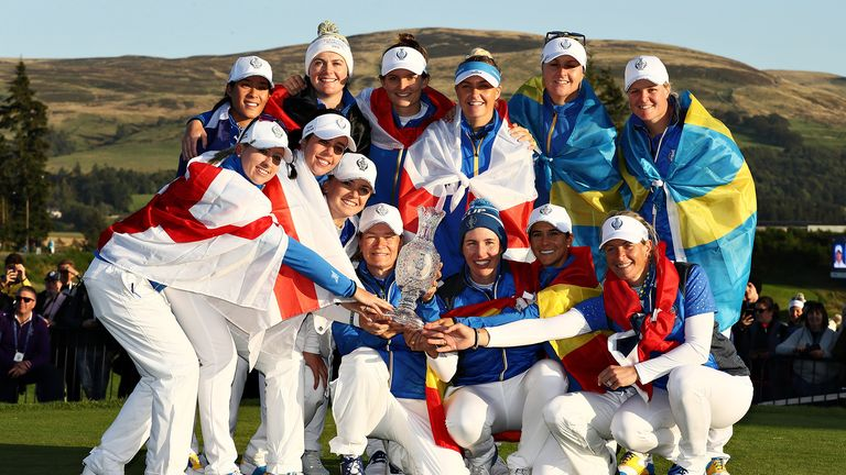 Team Europe celebrate winning the Solheim Cup during the final day singles matches of the Solheim Cup at Gleneagles on September 15, 2019 in Auchterarder, Scotland.