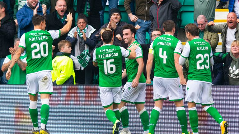 Stephen Mallan celebrates after scoring to make it 1-0 to Hibs