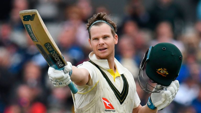 Steve Smith celebrates his century on the second day of the fourth Ashes Test
