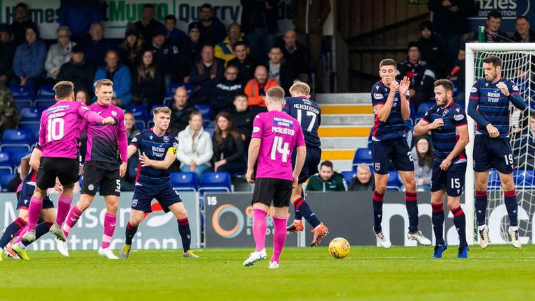 St. Mirren's Tony Andreu fires in against Ross County