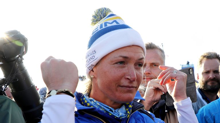 Suzann Pettersen of Team Europe celebrates her team winning the Solheim Cup during the final day singles matches of the Solheim Cup at Gleneagles on September 15, 2019 in Auchterarder, Scotland.
