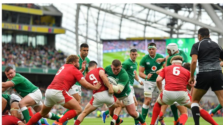 Prop Tadhg Furlong wrestled over for Ireland's second try