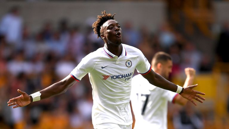 Tammy Abraham celebrates after scoring his team's second goal