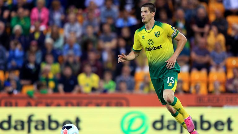 Timm Klose in action during a pre-season friendly against Atalanta at Carrow Road