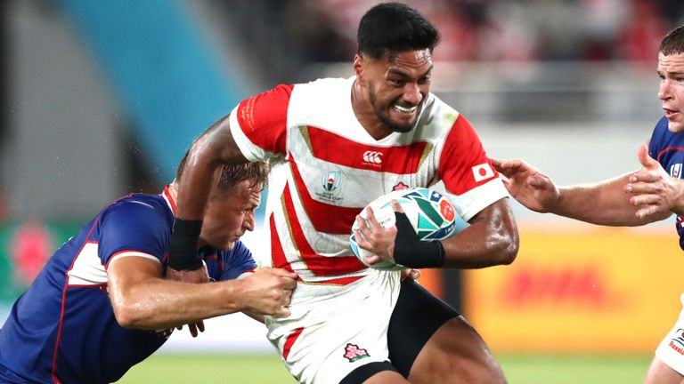 Timothy Lafaele carries strongly for Japan