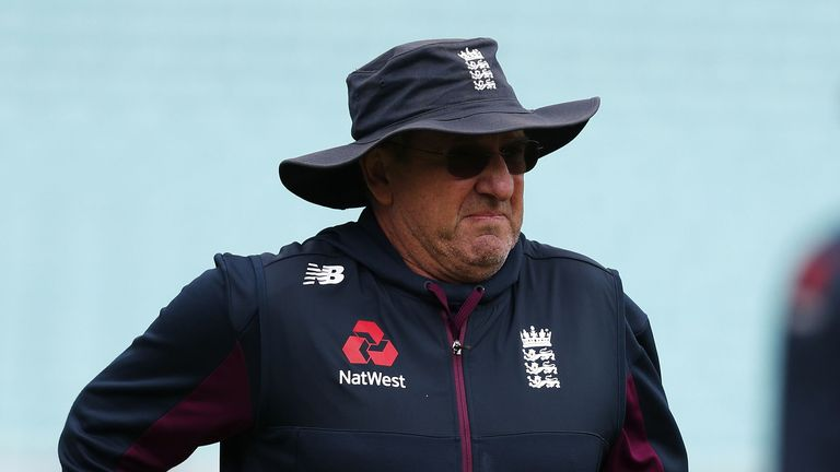England's head coach Trevor Bayliss jogs during a training session at The Oval in London on September 11, 2019, on the eve of the start of the fifth and final Ashes cricket Test match between England and Australia.