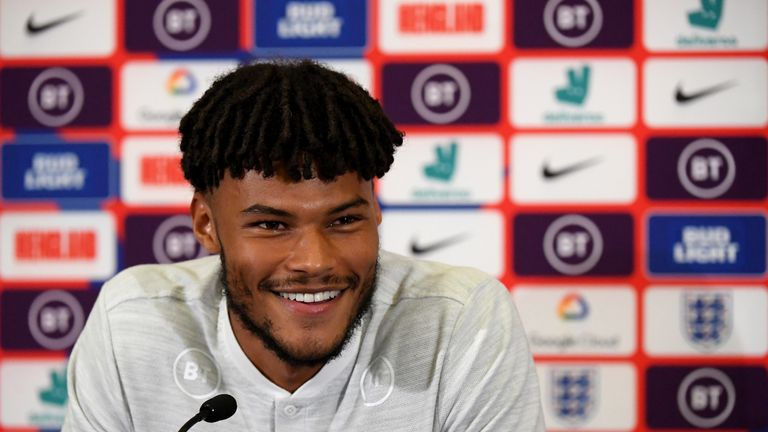 Aston Villa defender Tyrone Mings answers questions at England news conference ahead of European Qualifiers against Bulgaria and Kosovo