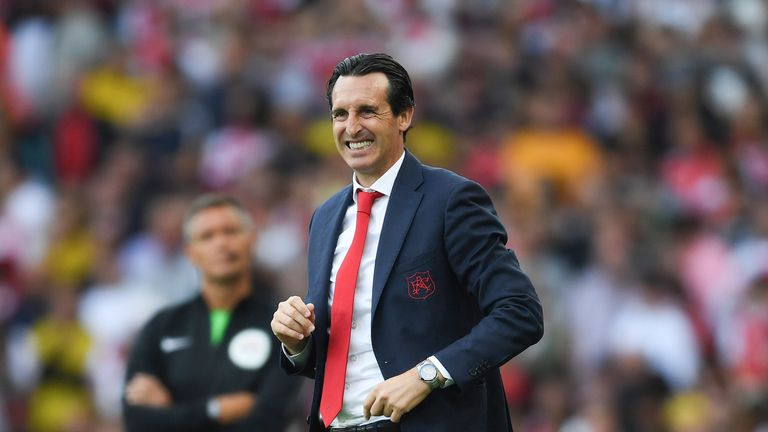 Unai Emery during the north London derby at the Emirates Stadium