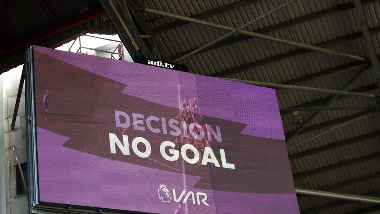 The scoreboard confirming Sheffield United's goal was ruled out by VAR