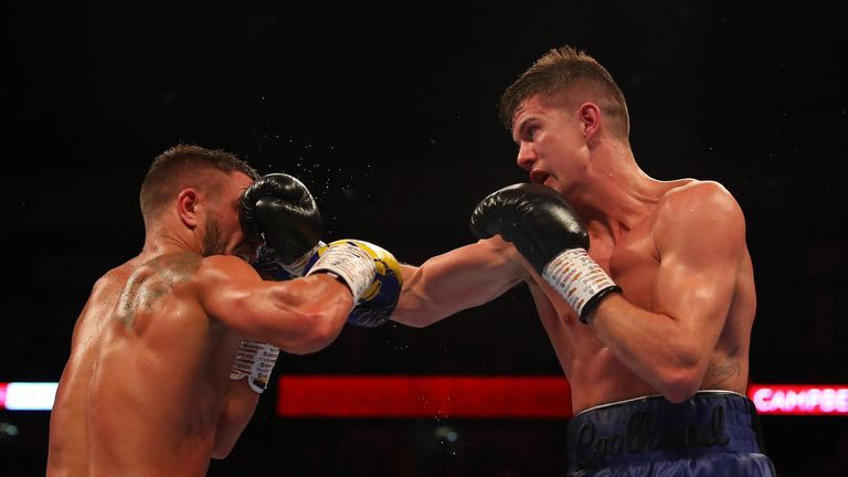 Vasily Lomachenko (left) and Luke Campbell are pictured during the WBA, WBO, WBC Lightweight World Title contest between Vasily Lomachenko and Luke Campbell at The O2 Arena on August 31, 2019 in London, England.